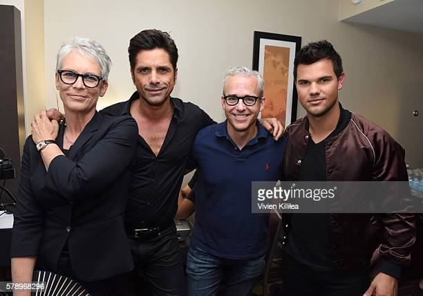 Actress Jamie Lee Curtis actor John Stamos editorial editor at Entertainment Weekly Jess Cagle and actor Taylor Lautner attend SiriusXM's...