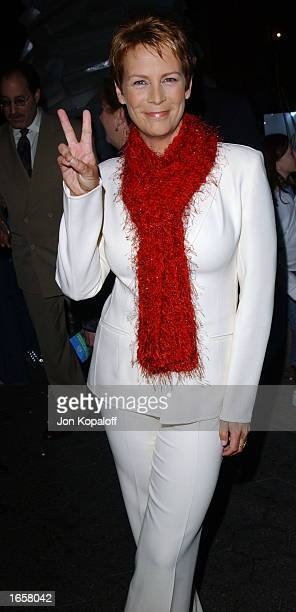 Actress Jamie Lee Curtis poses after switching on Christmas lights at the unveiling of 'Winterlit' at the Santa Monica Promenade on November 23 2002...