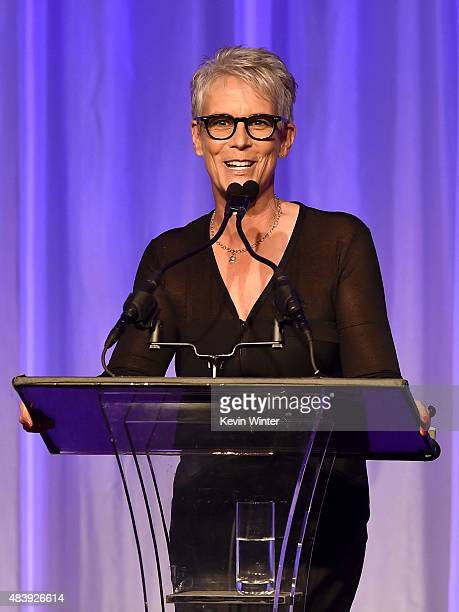 Actress Jamie Lee Curtis speaks onstage during HFPA Annual Grants Banquet at the Beverly Wilshire Four Seasons Hotel on August 13 2015 in Beverly...