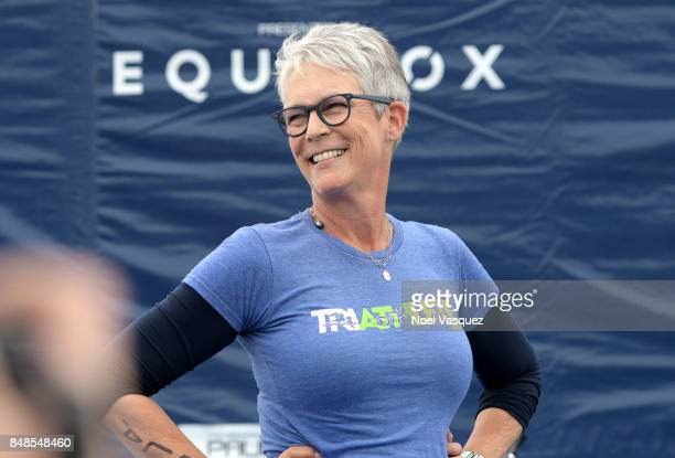 Actress Jamie Lee Curtis speaks onstage during the Nautica Malibu Triathlon at Zuma Beach on September 17 2017 in Malibu California