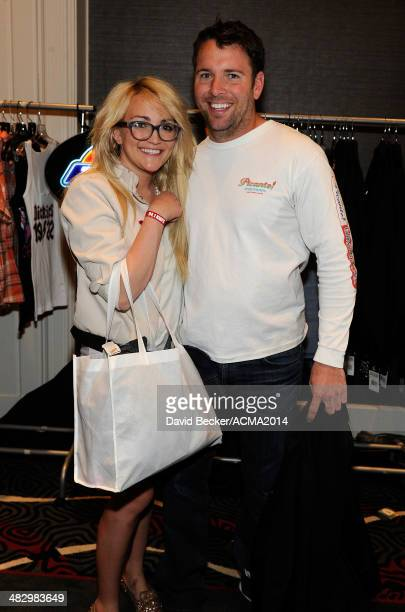 Actress Jamie Lynn Spears and James Watson attend the 49th Annual Academy of Country Music Awards Artist Appreciation Lounge at the MGM Grand Garden...