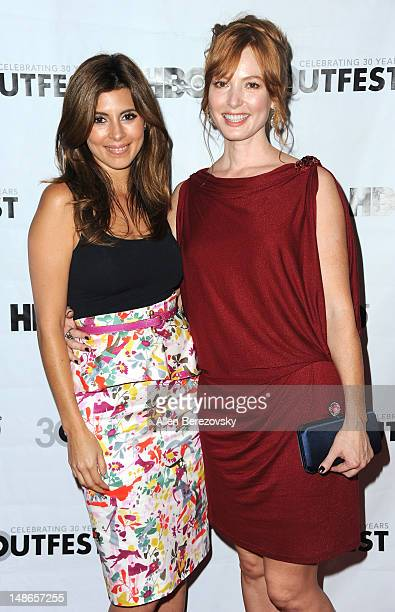Actress JamieLynn Sigler and actress Alicia Witt arrive at the 2012 Outfest Film Festival's 'I Do' premiere screening at John Anson Ford Amphitheatre...