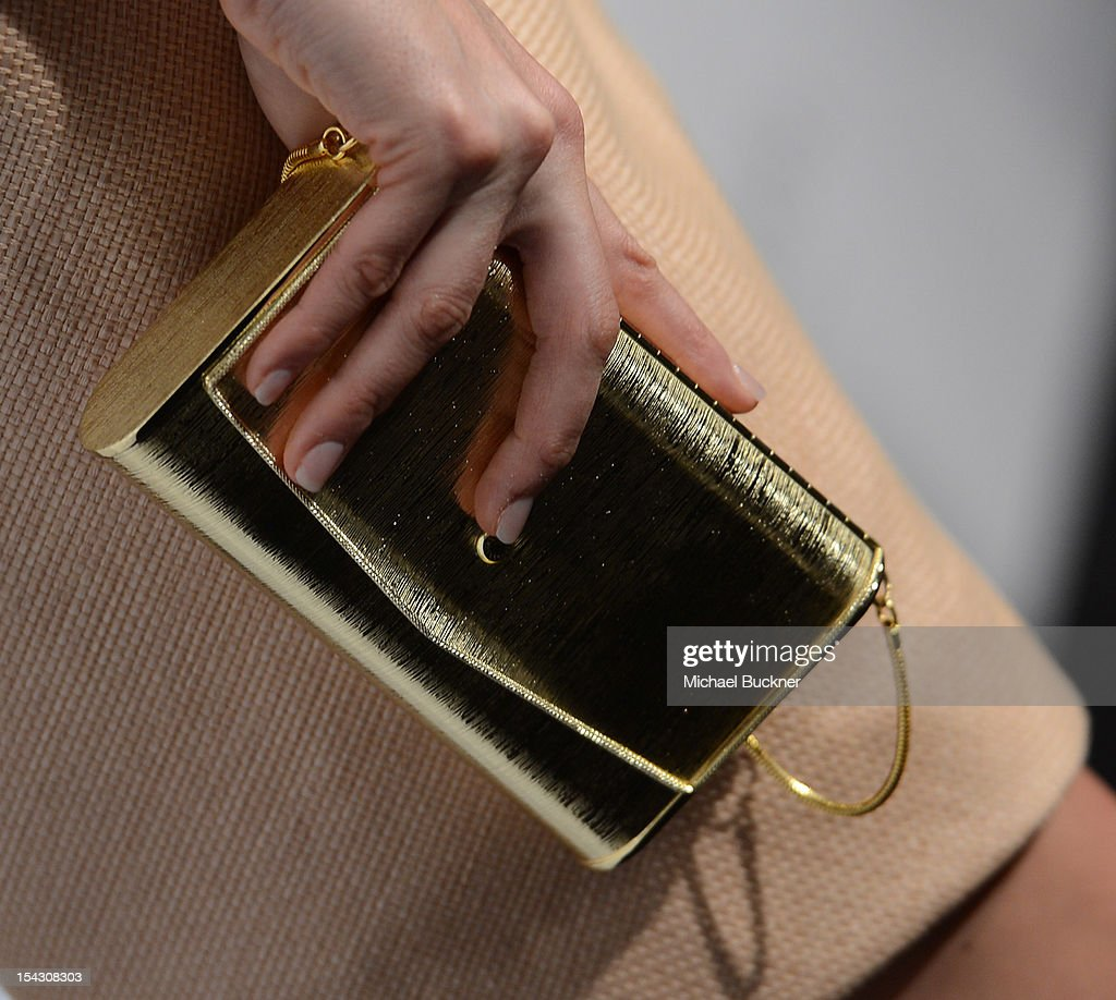 Actress <a gi-track='captionPersonalityLinkClicked' href=/galleries/search?phrase=Jamie-Lynn+Sigler&family=editorial&specificpeople=204494 ng-click='$event.stopPropagation()'>Jamie-Lynn Sigler</a> (Purse Detail) arrives at The 3rd Annual Autumn Party Feature a fashion show by J. Mendel Benefitting Children's Institute, Inc. at The London on October 17, 2012 in West Hollywood, California.