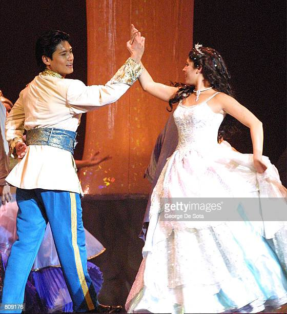 Actress JamieLynn Sigler performs as 'Cinderella' and Paolo Montalban as the 'Prince' in Rodgers and Hammerstein's 'Cinderella' May 3 2001 at the...