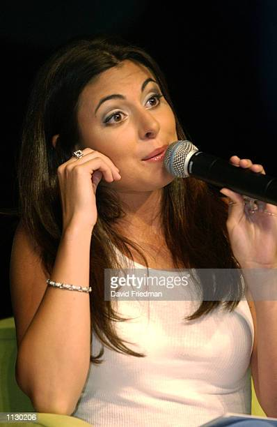 Actress JamieLynn Sigler who plays Meadow Soprano on the HBO series 'The Sopranos' speaks to the audience during the Totalmente Latina Tour July 13...