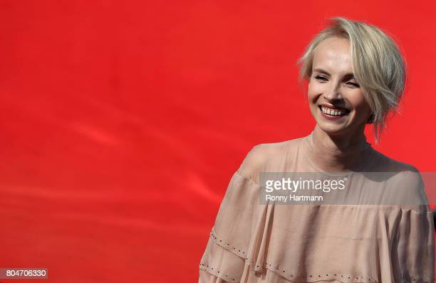 Actress Jana Plodkova arrives at the opening ceremony of the 52st Karlovy Vary International Film Festival on June 30 2017 in Karlovy Vary Czech...