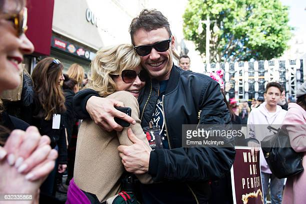 Actress Jane Fonda and actor James Franco attend the women's march in Los Angeles on January 21 2017 in Los Angeles California