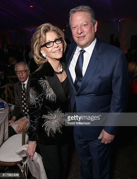 Actress Jane Fonda and Al Gore attend UCLA IOES celebration of the Champions of our Planet's Future on March 24 2016 in Beverly Hills California