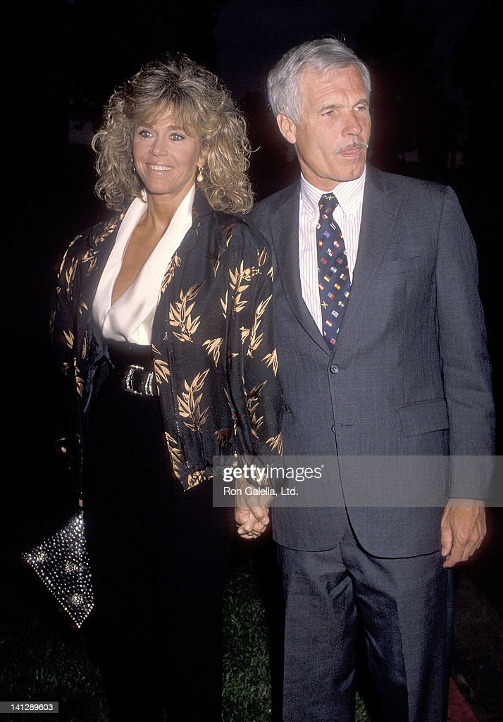 Actress <a gi-track='captionPersonalityLinkClicked' href=/galleries/search?phrase=Jane+Fonda&family=editorial&specificpeople=202174 ng-click='$event.stopPropagation()'>Jane Fonda</a> and businessman <a gi-track='captionPersonalityLinkClicked' href=/galleries/search?phrase=Ted+Turner+-+Businessman&family=editorial&specificpeople=203000 ng-click='$event.stopPropagation()'>Ted Turner</a> attend the Michael Ovitz Hosts a Private Viewing Party of ABC Television Special 'Earth Day Special' on April 22, 1990 at the Maple Drive Restaurant in Beverly Hills, California.