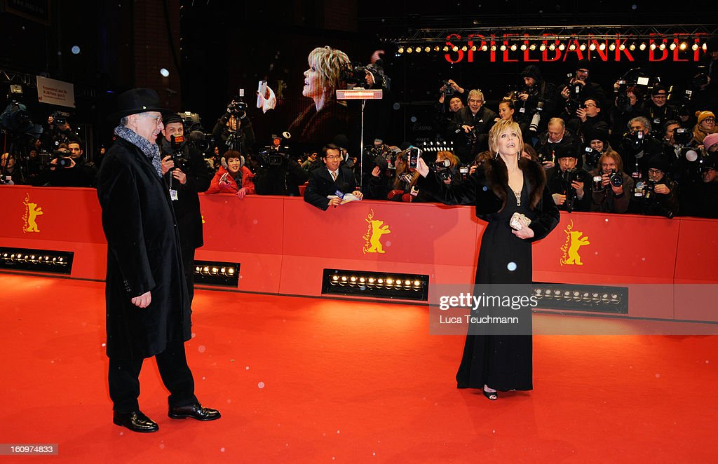 Actress Jane Fonda and festival director Berlin Film Festival Director Dieter Kosslick attend 'Promised Land' Premiere during the 63rd Berlinale International Film Festival at Berlinale Palast on February 8, 2013 in Berlin, Germany.