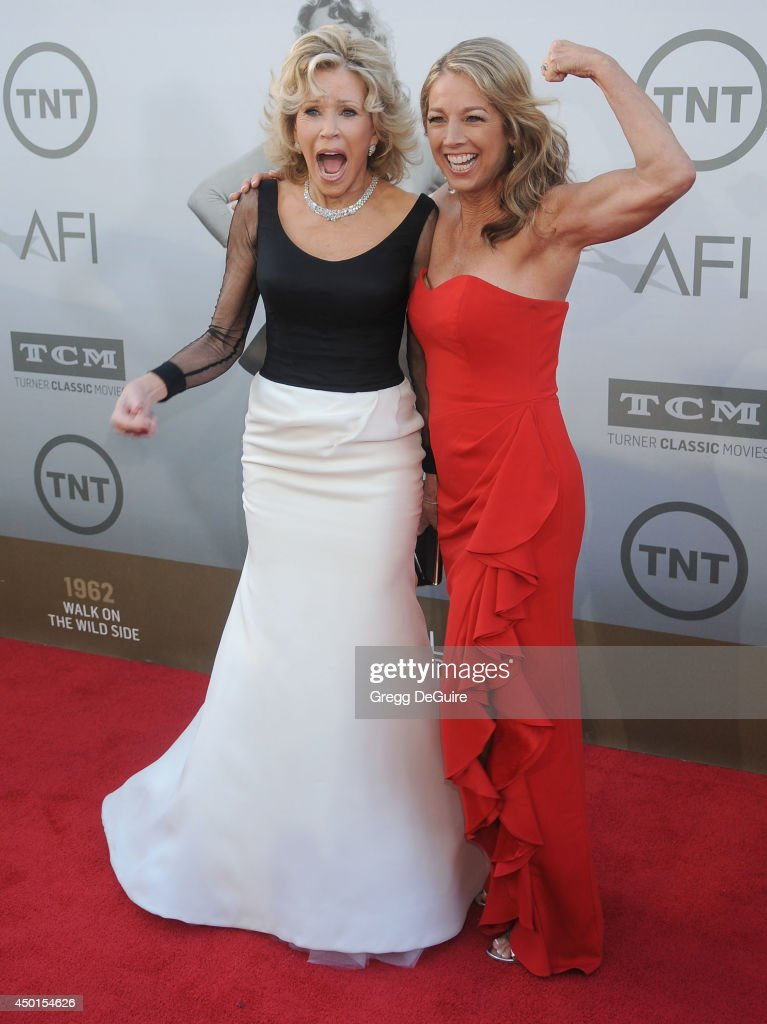 Actress Jane Fonda and fitness instructor Denise Austin arrive at the 2014 AFI Life Achievement Award Gala Tribute at Dolby Theatre on June 5, 2014 in Hollywood, California.