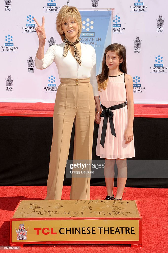 Actress Jane Fonda and granddaughter Viva Vadim pose at Jane Fonda's hand and footprints ceremony at TCL Chinese Theatre on April 27, 2013 in Hollywood, California.