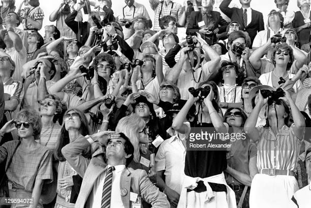 Actress Jane Fonda and her family watch the launch of the Space Shuttle Challenger carrying the first woman astronaut Sally Ride into space Fonda and...