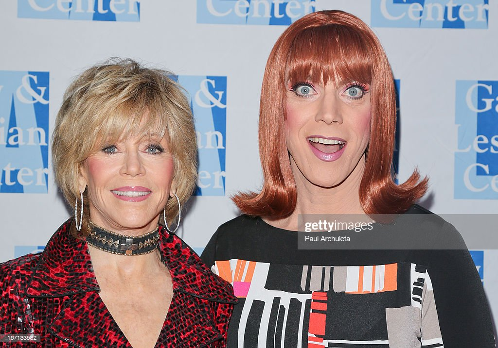 Actress Jane Fonda (L) and Miss Coco Peru (R) attend a 'Conversations With Coco' at the Gay & Lesbian Center on April 20, 2013 in Los Angeles, California.