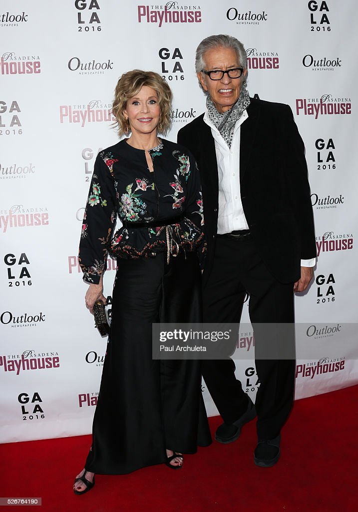 Actress Jane Fonda (L) and Music Producer Richard Perry (R) attend the Pasadena Playhouse Gala at The Pasadena Playhouse on April 30, 2016 in Pasadena, California.