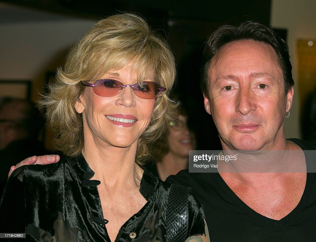 Actress Jane Fonda (L) and musician Julian Lennon attend the Pattie Boyd: Newly Discovered Photo Exhibition at Morrison Hotel Gallery on June 28, 2013 in West Hollywood, California.