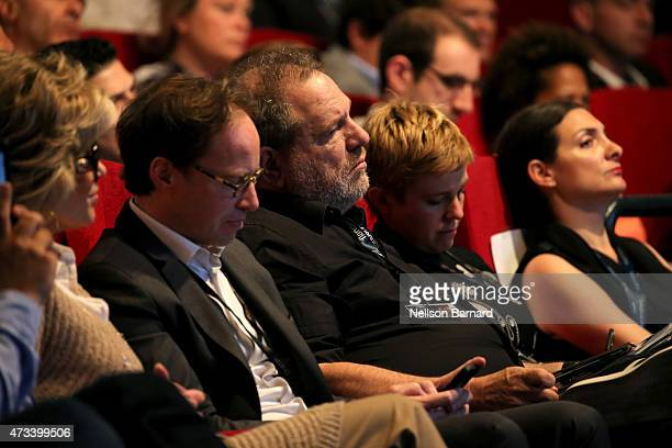 Actress Jane Fonda and producer Harvey Weinstein attend a talk given by Netflix Chief Content Officer Ted Sarandos at Marche Du Film during the 68th...