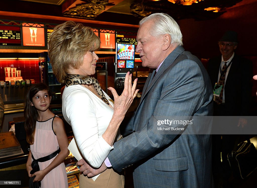 Actress Jane Fonda and TCM host Robert Osborne attend actress Jane Fonda's Handprint/Footprint Ceremony during the 2013 TCM Classic Film Festival at...