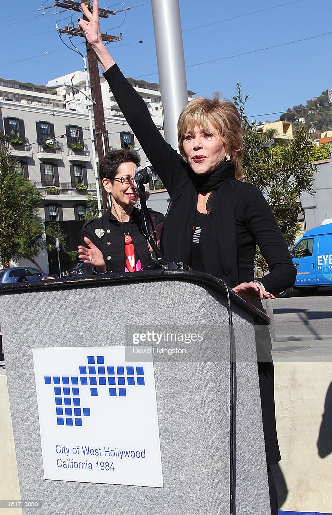 Actress Jane Fonda (R) and West Hollywood Mayor Pro Tempore Abbe Land attend the kick-off for One Billion Rising in West Hollywood on February 14, 2013 in West Hollywood, California.