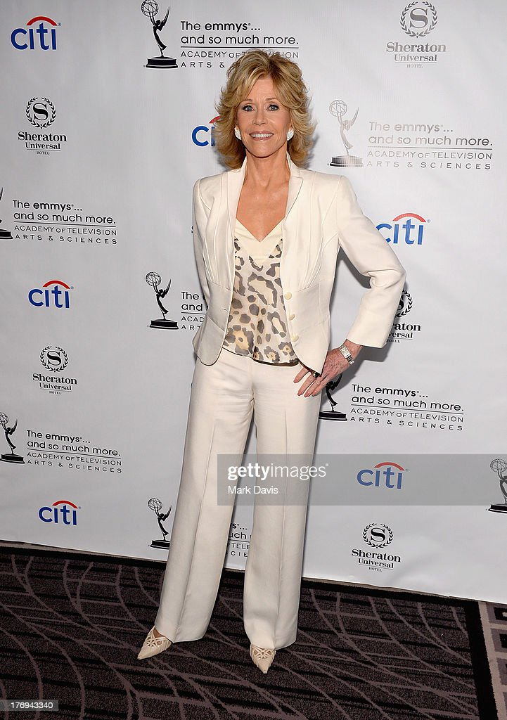 Actress <a gi-track='captionPersonalityLinkClicked' href=/galleries/search?phrase=Jane+Fonda&family=editorial&specificpeople=202174 ng-click='$event.stopPropagation()'>Jane Fonda</a> arrives at the Academy of Television Arts & Sciences' Performers Peer Group cocktail reception to celebrate the 65th Primetime Emmy Awards at Sheraton Universal on August 19, 2013 in Universal City, California.