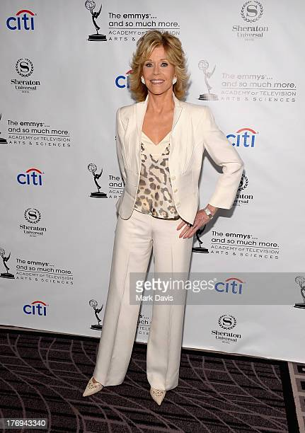 Actress Jane Fonda arrives at the Academy of Television Arts Sciences' Performers Peer Group cocktail reception to celebrate the 65th Primetime Emmy...