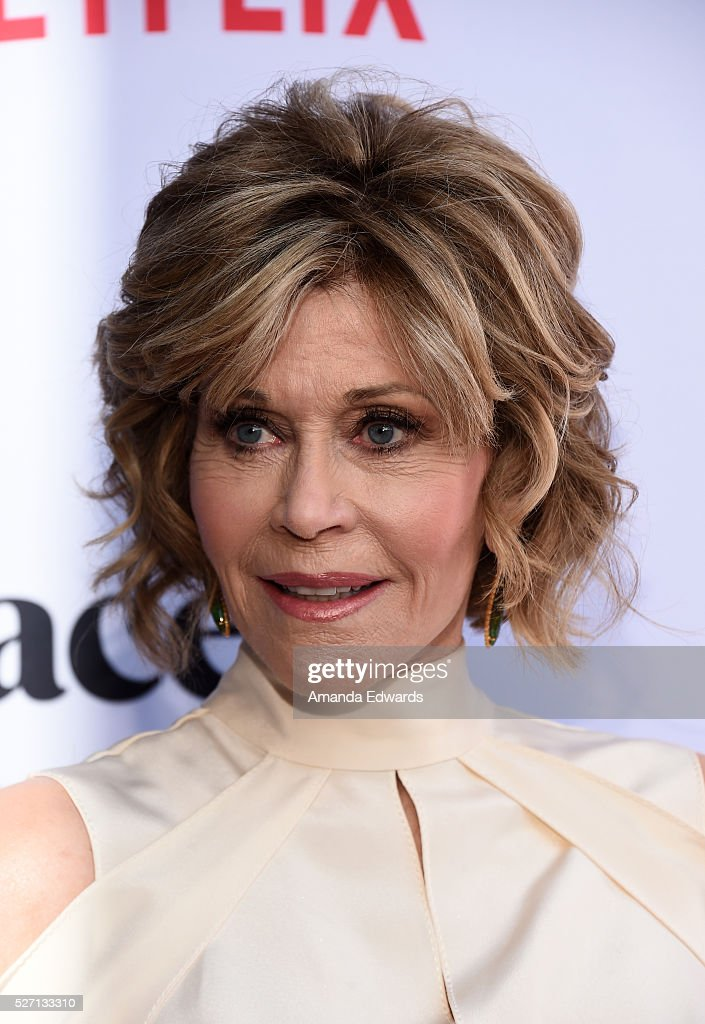 Actress Jane Fonda arrives at the Netflix Original Series 'Grace & Frankie' Season 2 premiere at the Harmony Gold Theater on May 1, 2016 in Los Angeles, California.