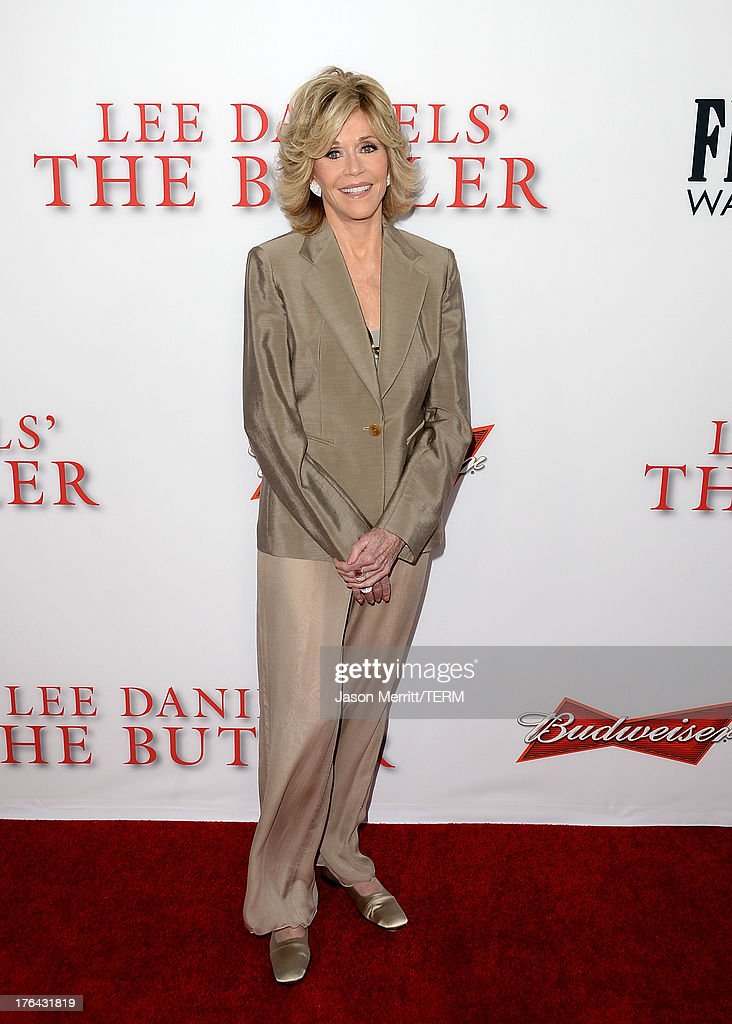 Actress <a gi-track='captionPersonalityLinkClicked' href=/galleries/search?phrase=Jane+Fonda&family=editorial&specificpeople=202174 ng-click='$event.stopPropagation()'>Jane Fonda</a> arrives at the premiere of The Weinstein Company's 'Lee Daniels' The Butler' at Regal Cinemas L.A. Live on August 12, 2013 in Los Angeles, California.