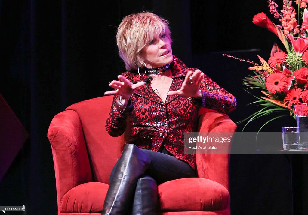 Actress <a gi-track='captionPersonalityLinkClicked' href=/galleries/search?phrase=Jane+Fonda&family=editorial&specificpeople=202174 ng-click='$event.stopPropagation()'>Jane Fonda</a> attends a 'Conversations With Coco' at The Gay & Lesbian Center on April 20, 2013 in Los Angeles, California.