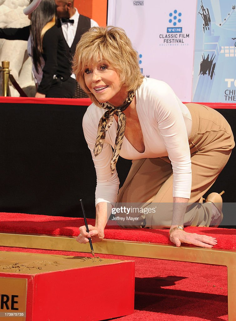 Actress Jane Fonda attends actress Jane Fonda's Handprint/Footprint Ceremony during the 2013 TCM Classic Film Festival at TCL Chinese Theatre on April 27, 2013 in Los Angeles, California.