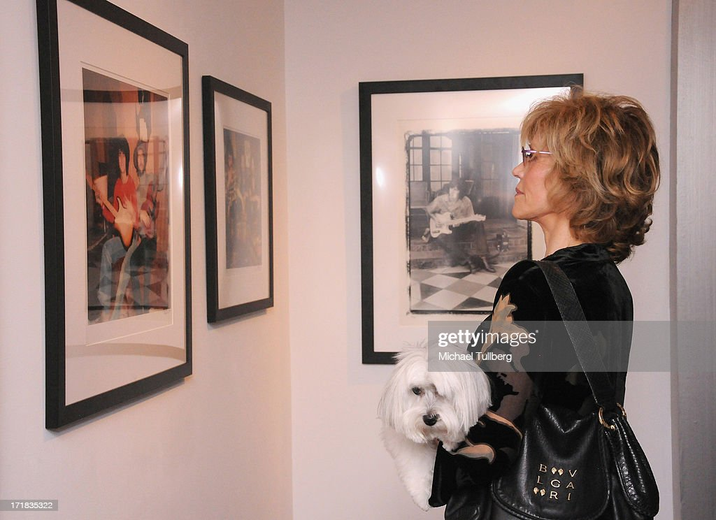 Actress <a gi-track='captionPersonalityLinkClicked' href=/galleries/search?phrase=Jane+Fonda&family=editorial&specificpeople=202174 ng-click='$event.stopPropagation()'>Jane Fonda</a> attends an exhibition of photographer Pattie Boyd's photographs entitled 'Pattie Boyd: Newly Discovered' at Morrison Hotel Gallery on June 28, 2013 in West Hollywood, California.