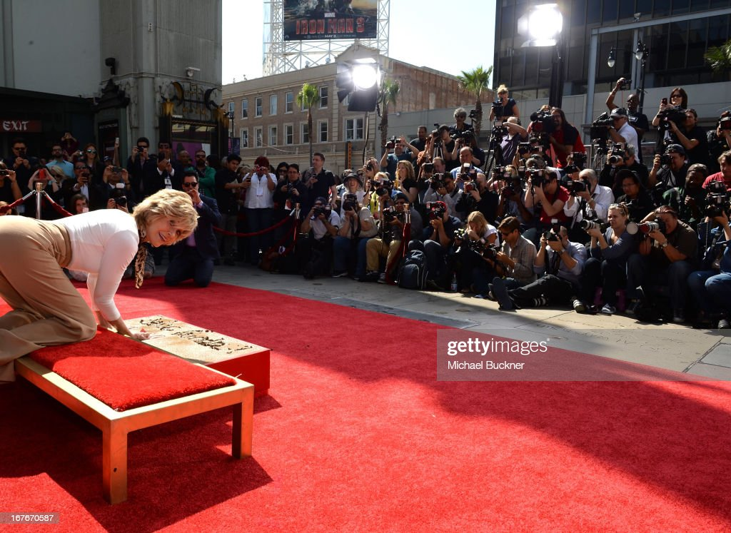 Actress <a gi-track='captionPersonalityLinkClicked' href=/galleries/search?phrase=Jane+Fonda&family=editorial&specificpeople=202174 ng-click='$event.stopPropagation()'>Jane Fonda</a> attends her Handprint/Footprint Ceremony during the 2013 TCM Classic Film Festival at TCL Chinese Theatre on April 27, 2013 in Los Angeles, California. 23632_009_MB_0653.JPG