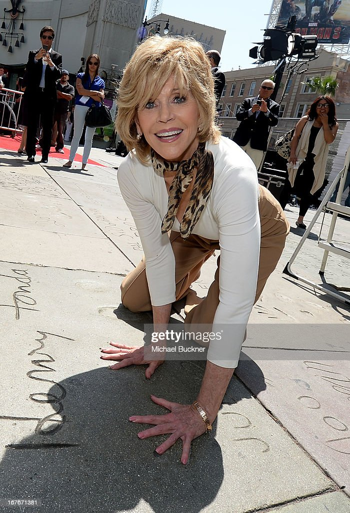 Actress <a gi-track='captionPersonalityLinkClicked' href=/galleries/search?phrase=Jane+Fonda&family=editorial&specificpeople=202174 ng-click='$event.stopPropagation()'>Jane Fonda</a> attends her Handprint/Footprint Ceremony during the 2013 TCM Classic Film Festival at TCL Chinese Theatre on April 27, 2013 in Los Angeles, California. 23632_009_MB_0907.JPG
