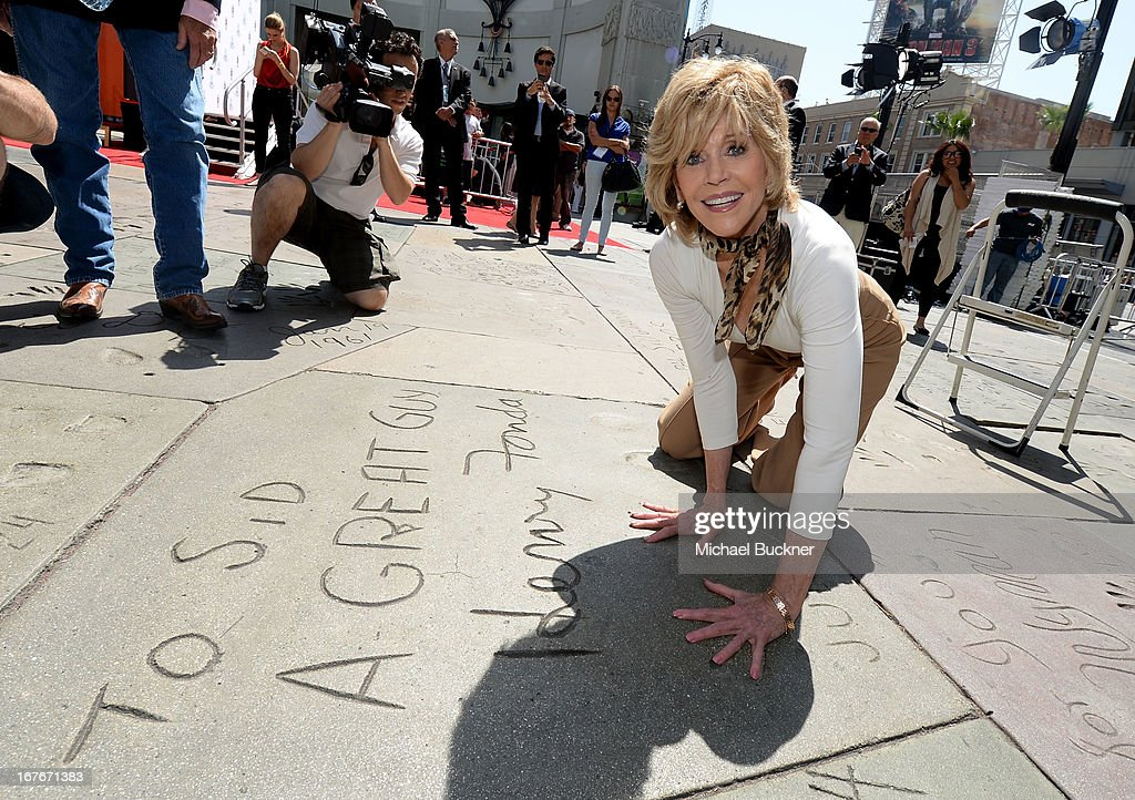 Actress <a gi-track='captionPersonalityLinkClicked' href=/galleries/search?phrase=Jane+Fonda&family=editorial&specificpeople=202174 ng-click='$event.stopPropagation()'>Jane Fonda</a> attends her Handprint/Footprint Ceremony during the 2013 TCM Classic Film Festival at TCL Chinese Theatre on April 27, 2013 in Los Angeles, California. 23632_009_MB_0909.JPG