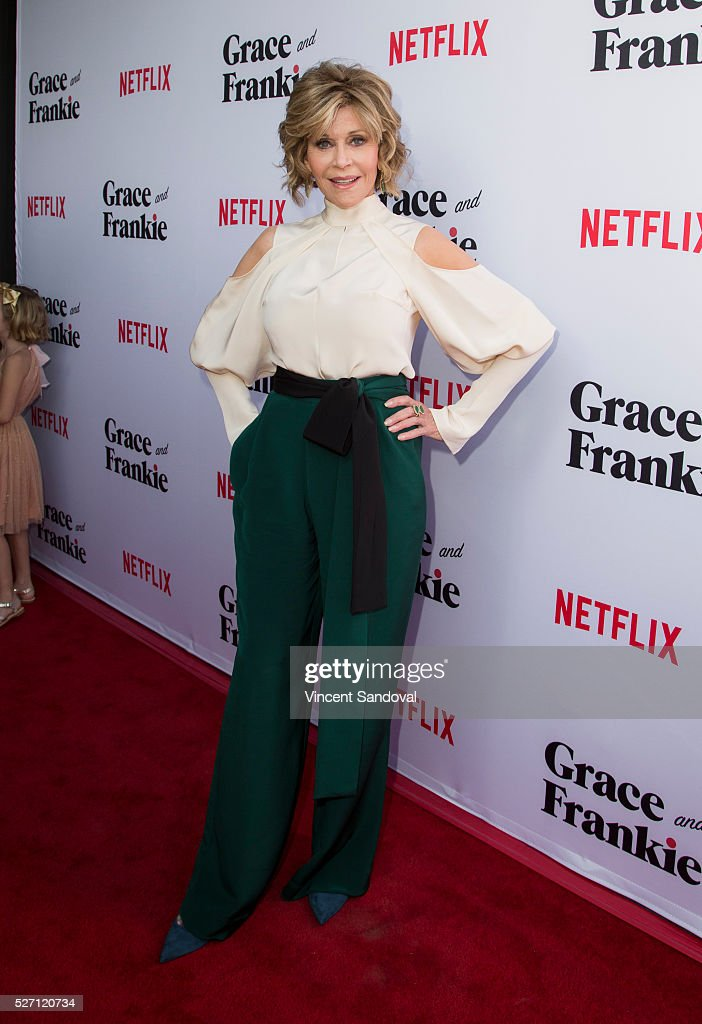 Actress <a gi-track='captionPersonalityLinkClicked' href=/galleries/search?phrase=Jane+Fonda&family=editorial&specificpeople=202174 ng-click='$event.stopPropagation()'>Jane Fonda</a> attends Netflix Original Series 'Grace & Frankie' season 2 premiere at Harmony Gold on May 1, 2016 in Los Angeles, California.