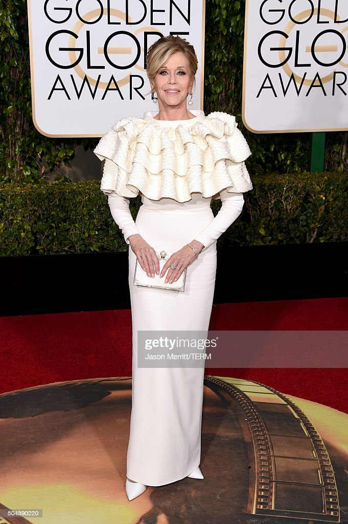 Actress <a gi-track='captionPersonalityLinkClicked' href=/galleries/search?phrase=Jane+Fonda&family=editorial&specificpeople=202174 ng-click='$event.stopPropagation()'>Jane Fonda</a> attends the 73rd Annual Golden Globe Awards held at the Beverly Hilton Hotel on January 10, 2016 in Beverly Hills, California.