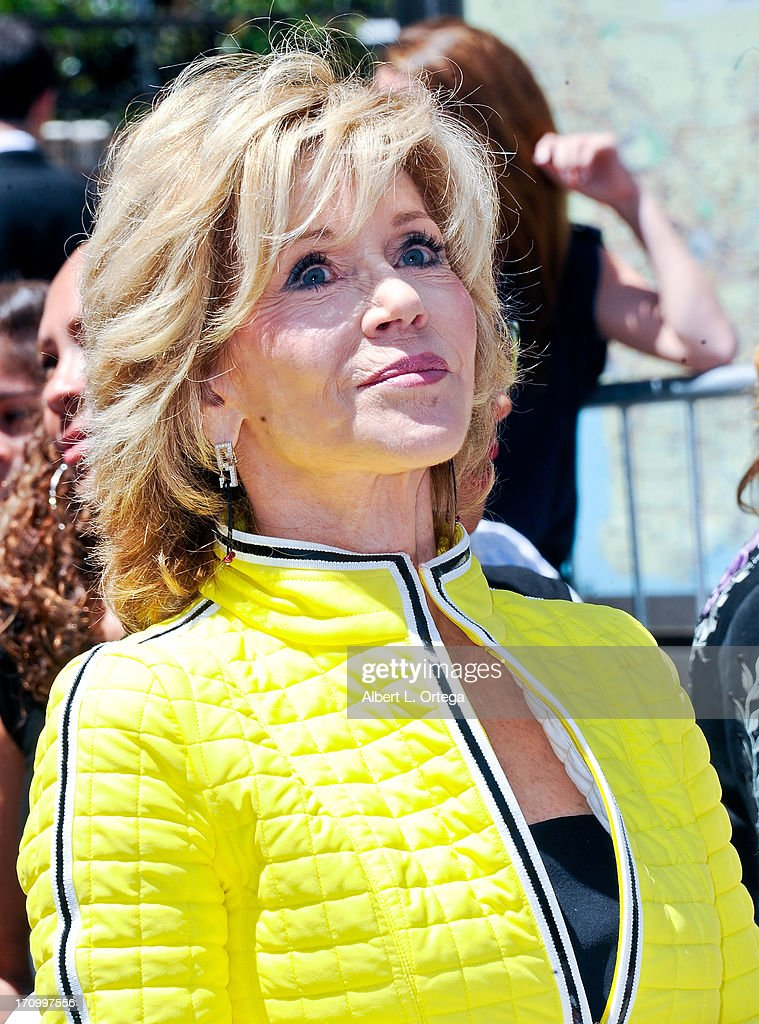 Actress <a gi-track='captionPersonalityLinkClicked' href=/galleries/search?phrase=Jane+Fonda&family=editorial&specificpeople=202174 ng-click='$event.stopPropagation()'>Jane Fonda</a> attends the Jennifer Lopez Star on the Hollywood Walk Of Fame on June 20, 2013 in Hollywood, California.