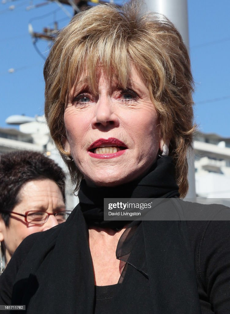 Actress <a gi-track='captionPersonalityLinkClicked' href=/galleries/search?phrase=Jane+Fonda&family=editorial&specificpeople=202174 ng-click='$event.stopPropagation()'>Jane Fonda</a> attends the kick-off for One Billion Rising in West Hollywood on February 14, 2013 in West Hollywood, California.