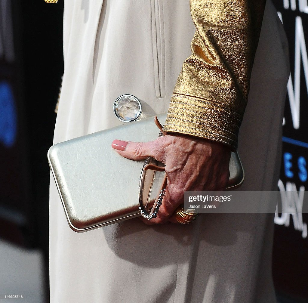 Actress <a gi-track='captionPersonalityLinkClicked' href=/galleries/search?phrase=Jane+Fonda&family=editorial&specificpeople=202174 ng-click='$event.stopPropagation()'>Jane Fonda</a> (handbag detail) attends the premiere of HBO's 'Newsroom' at ArcLight Cinemas Cinerama Dome on June 20, 2012 in Hollywood, California.