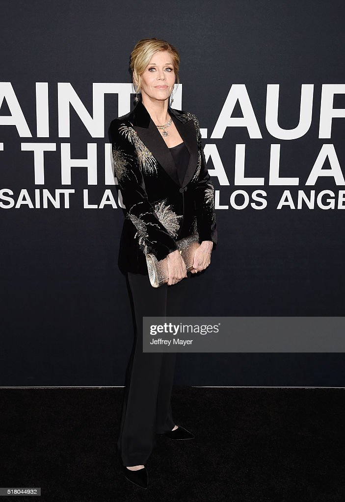 Actress Jane Fonda attends the Saint Laurent show at The Hollywood Palladium on February 10, 2016 in Los Angeles, California.