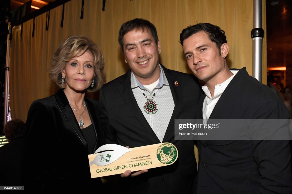 Actress Jane Fonda, chairman Chad Harrison and actor Orlando Bloom attend the 14th Annual Global Green Pre Oscar Party at TAO Hollywood on February 22, 2017 in Los Angeles, California.