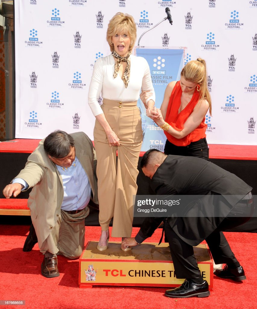 Actress Jane Fonda hand and footprints immortalized in cement at TCL Chinese Theatre on April 27, 2013 in Hollywood, California.