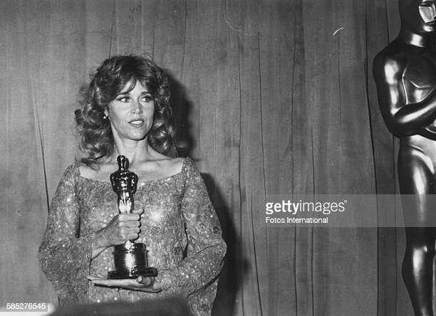 Actress Jane Fonda holding her Best Actress Oscar for the film 'Coming Home' at the 51st Academy Awards Los Angeles April 9th 1979