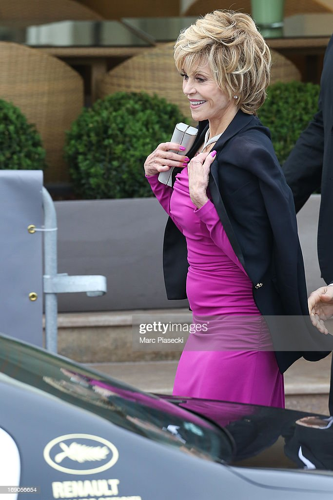 Actress Jane Fonda is seen leaving the 'Grand Hyatt Hotel Martinez Cannes' during the 66th Annual Cannes Film Festival on May 19, 2013 in Cannes, France.