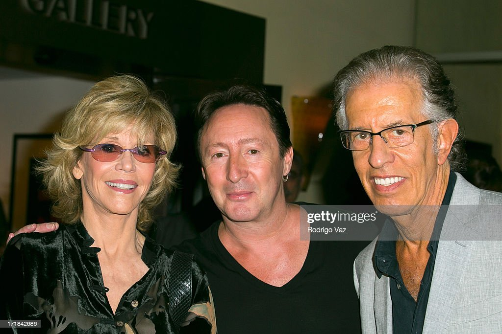 Actress Jane Fonda, musician Julian Lennon and producer Richard Perry attend the Pattie Boyd: Newly Discovered Photo Exhibition at Morrison Hotel Gallery on June 28, 2013 in West Hollywood, California.