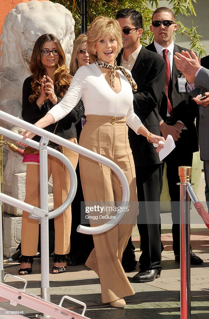 Actress Jane Fonda poses at her hand and footprints ceremony at TCL Chinese Theatre on April 27, 2013 in Hollywood, California.