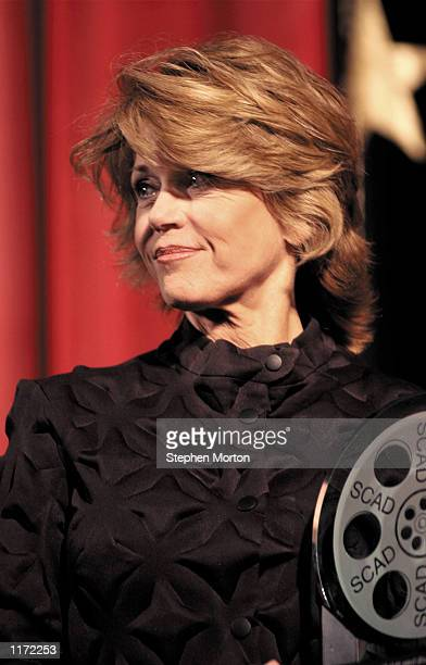 Actress Jane Fonda receives the Savannah College of Art and Design's Lifetime Achievement Award in Film Monday Oct 29 2001 in Savannah Ga for her...
