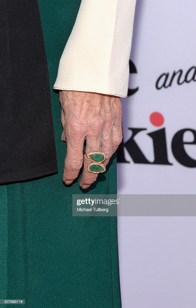 Actress <a gi-track='captionPersonalityLinkClicked' href=/galleries/search?phrase=Jane+Fonda&family=editorial&specificpeople=202174 ng-click='$event.stopPropagation()'>Jane Fonda</a>, ring detail, attends the premiere of Season 2 of the Netflix Original Series 'Grace & Frankie' at Harmony Gold on May 1, 2016 in Los Angeles, California.
