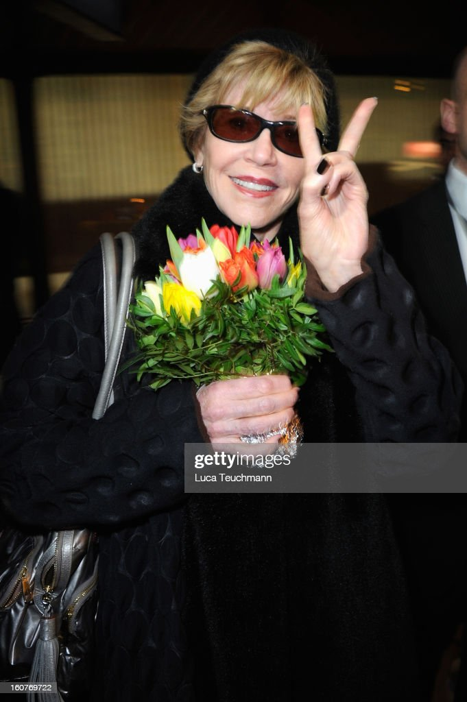 Actress <a gi-track='captionPersonalityLinkClicked' href=/galleries/search?phrase=Jane+Fonda&family=editorial&specificpeople=202174 ng-click='$event.stopPropagation()'>Jane Fonda</a> seen at Berlin Tegel Airport prior to the 63rd Berlinale International Film Festival on February 5, 2013 in Berlin, Germany.