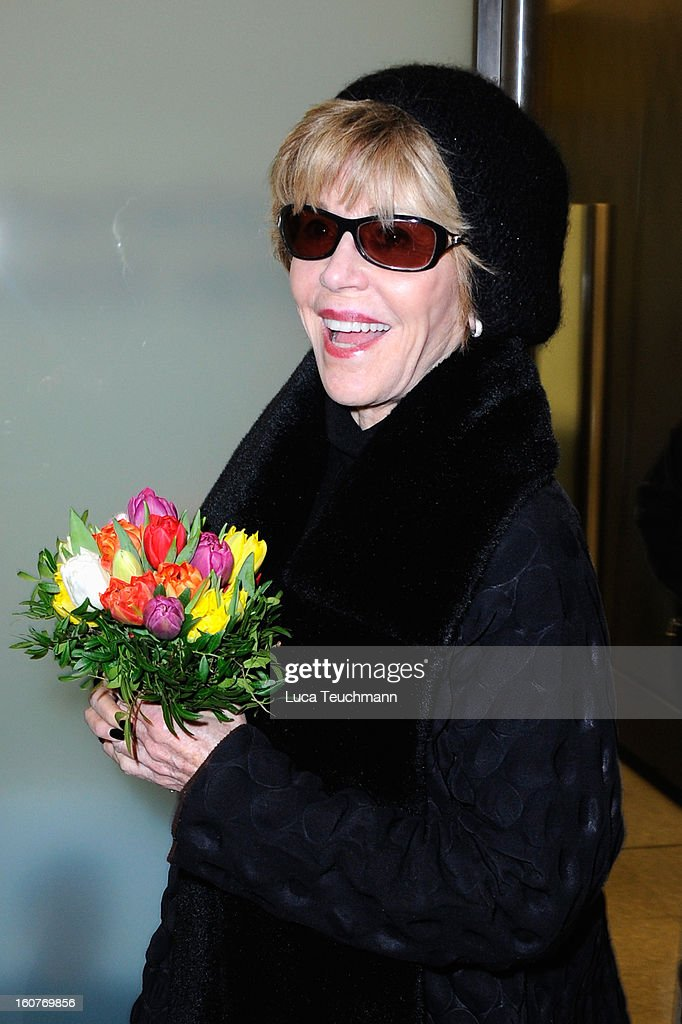 Actress Jane Fonda seen at Berlin Tegel Airport prior to the 63rd Berlinale International Film Festival on February 5, 2013 in Berlin, Germany.