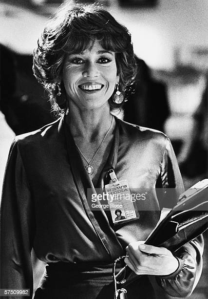Actress Jane Fonda smiles between scenes on the 1978 Las Vegas Nevada film set for the 79 movie 'The Electric Horseman' Fonda portrays a TV news...